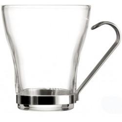 TAZA CRISTAL TE/CAFE CON ASA INOX (3 ud)