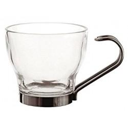 TAZA CRISTAL CAFE CON ASA INOX (3 ud)